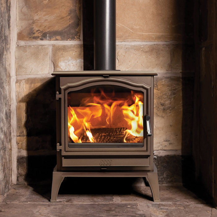 ESSE 700 in bronze stone fireplace
